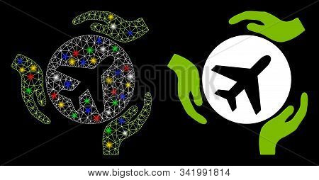 Glossy Mesh Aviation Care Hands Icon With Lightspot Effect. Abstract Illuminated Model Of Aviation C