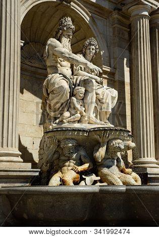 Vienna, Austria - June 3, 2019: Classical Statuary Of The Albrechtsbrunnen (albrechts Fountain) On T