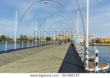 Gorgeous View Of The Moving Pontoon Queen Emma Bridge Across St. Anna Bay. Willemstad. Curacao. 09.1
