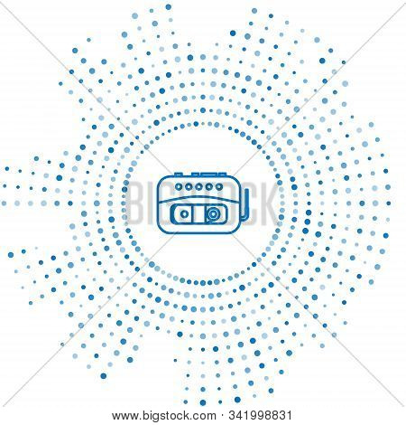 Blue Line Music Tape Player Icon Isolated On White Background. Portable Music Device. Abstract Circl