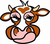 Cow with a mad expression in cartoon style poster