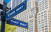 Streets sign crossroad mock up, Manhattan New York downtown US, blank empty blue color, copy space. Highrise buildings and blue sky background poster