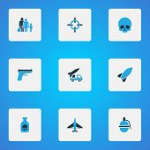 Combat icons colored set with fugitive, dynamite, bomb and other aim elements. Isolated vector illustration combat icons. poster
