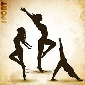Illustration of rhythmic gymnastic girls on grungy abstract background. EPS10. poster