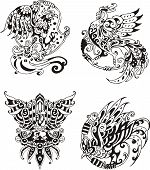 Stylized roosters. Set of black and white vector illustrations. poster