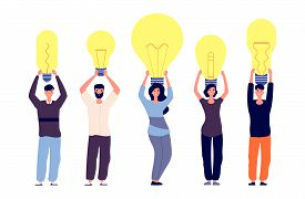 People And Ideas. Different Persons Hold Light Bulbs Vector Illustration. Metaphor For Uniqueness Of