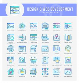 Set Of Filled Outline Multicolor Icons On Following Themes - Seo, Web Development, Web Optimization,