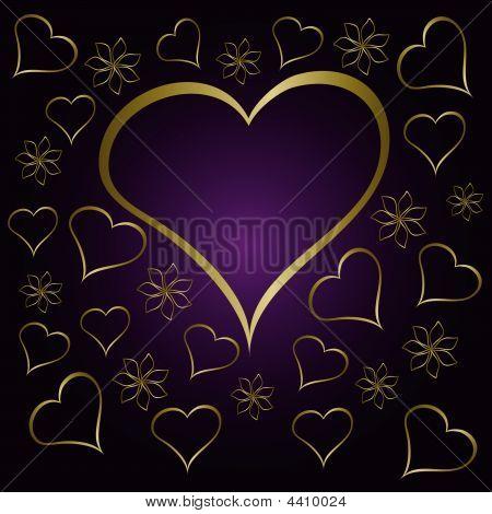 Purple Valentines Hearts Illustration