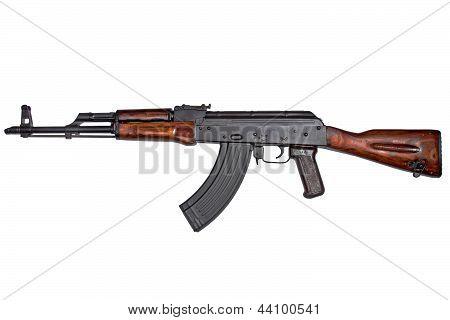 AKM Avtomat Kalashnikova Kalashnikov assault rifle on white poster