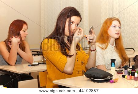 Girls  In The Classroom During Recess
