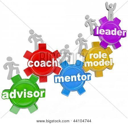 People marching on gears with the words Advisor, Coach, Mentor, Role Model and Leader to symbolize learning from an experienced person who can guide you to your goals in life poster