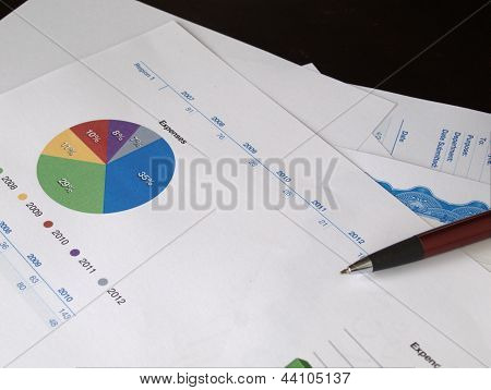 Pie Chart In A Pile Of Documents