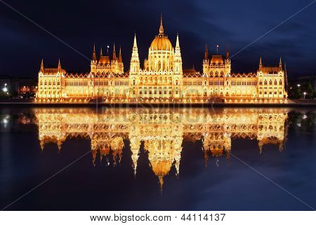 Budapest - Hungarian parliament.with reflection in Danube river at night - Hungary poster