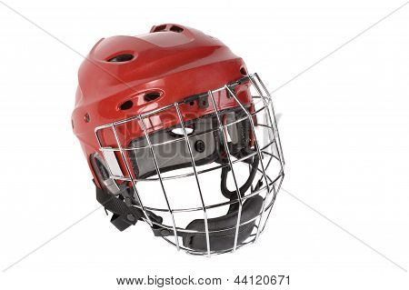 mission to protect the player's head from injury. Goalie helmet protects both face and back of the head keeper. athlete hockey equipment. poster