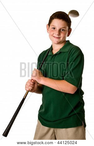 Young boy holding a golf club