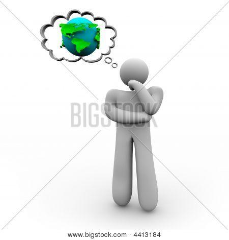 Osoba myśli o ziemi