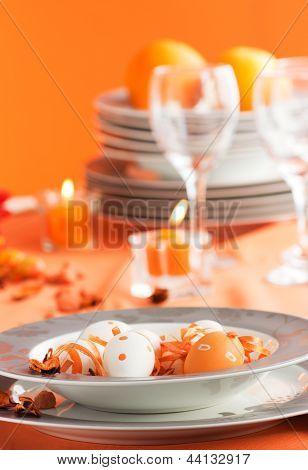 Easter Table Setting In Orange Tones