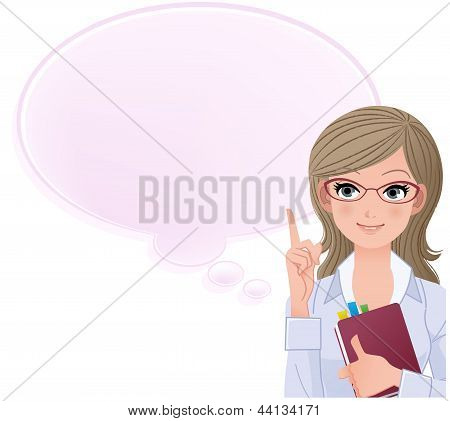 Cute Woman Pointing Up With Index Finger