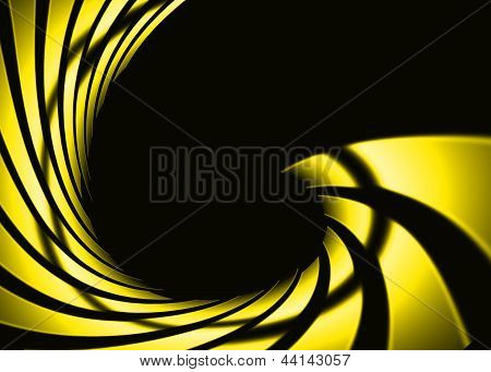Abstract swirl yellow color with dark background poster