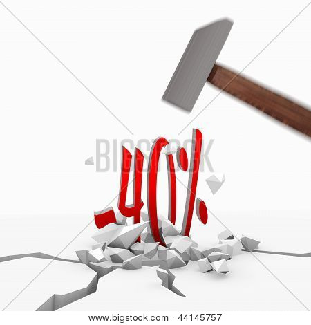 3d graphic of a strong discount symbol smashed with a hammer