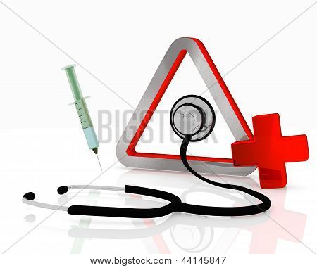 triangle symbol with stethoscope and injection