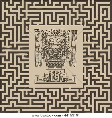 Vector Mayan And Inca Tribal Symbols On Maze