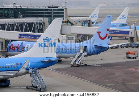Klm Planes Being Loaded At Schiphol Airport
