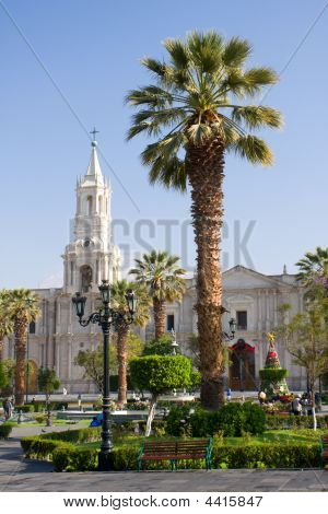 Main Square Of Arequipa With Church And Palm Tree