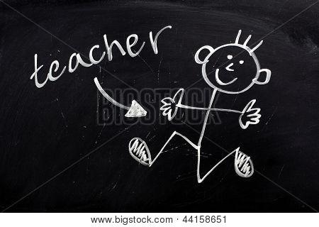 Happy Teacher on a Blackboard