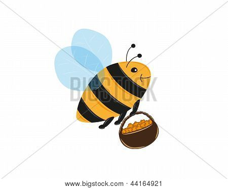 flying bee and basket full of pollen or honey poster