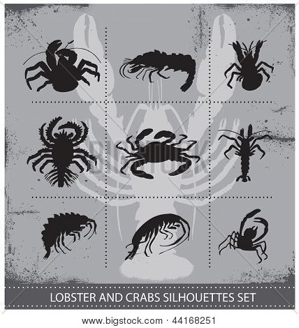 lobsters vector silhouettes signs set isolated