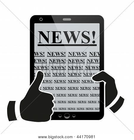 Hands holding tablet pc with news.