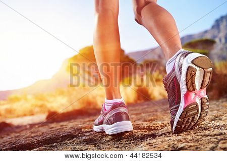 athlete running sport feet on trail healthy lifestyle fitness poster