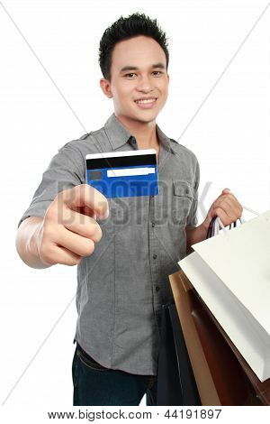 Man With Shopping Bags And Credit Card