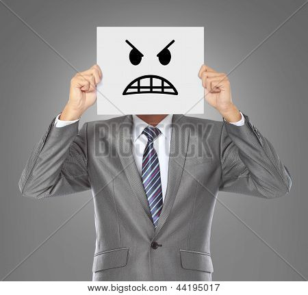 Businessman With Angry Mask