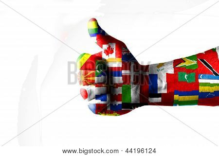 Like concept with thumbs up and flags applied poster