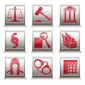 Vector icons with justice symbols in gray and red colors poster