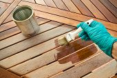 Staining or varnishing wooden table. Before and after poster