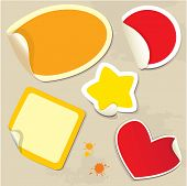 Set of different colors stickers with twisted corners - oval round square star and heart poster