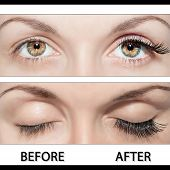 Close Beautiful eyes with natural eyelashes to and false eyelashes after poster
