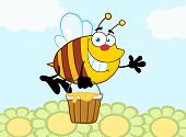 Smiling Bee Flying With A Honey Bucket And Waving For Greeting Over Flowers poster