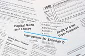IRS Federal Income tax forms. Form 1040 and Schedule D with instructions. poster