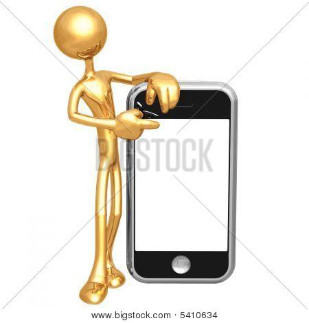 3D personage met Cellphone
