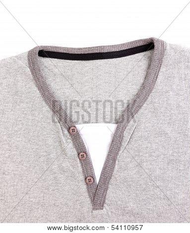 Polo Shirt no collar close-up.