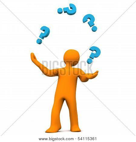 Manikin Juggler Question Marks