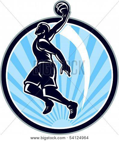 Basketball Player Dunk Ball Retro