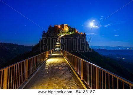 Civita Di Bagnoregio Landmark, Bridge View On Twilight. Italy
