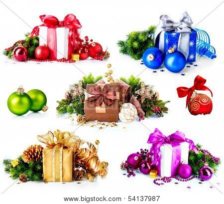 Christmas. Collage of Dufferent Colorful New Year's Gifts and Decorations isolated on White Background. Present Boxes with Baubles , Ribbon, Evergreens, Bow. Various Colors. Art Holiday Design.  poster