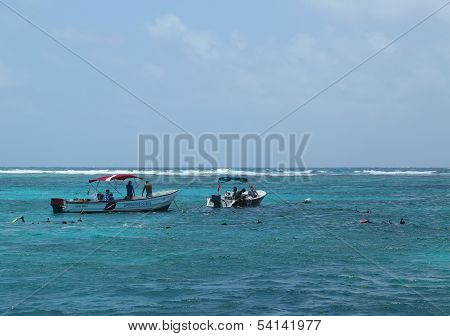 Numerous divers and snorkelers exploring Bacalar Chico National Park and Marine Reserve in Belize