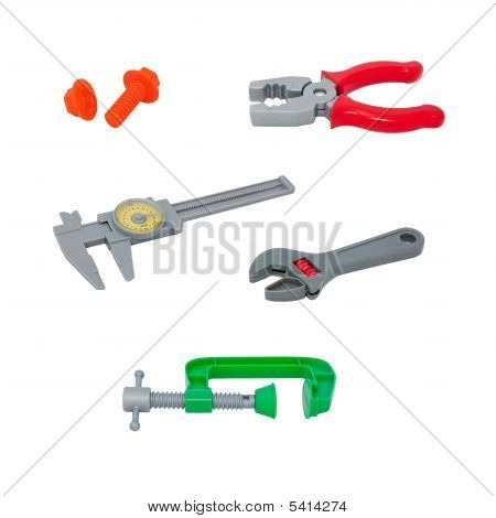 Plastic maintenance toys collection isolated on white background,cut out,shadeless